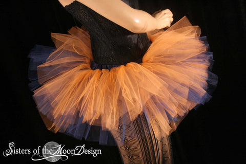 Team Colors Tutu skirt Adult Peek a boo mini orange navy dance costume halloween roller derby - You Choose size -- Sisters of the Moon