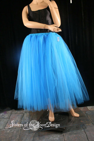 Turquoise Adult tutu skirt long extra puffy petticoat two layer dance formal wedding bridal prom gypsy