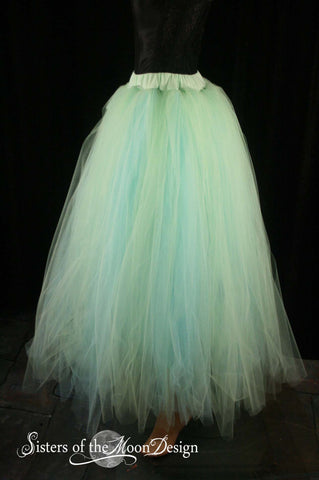 Spring wedding tutu skirt Streamer floor length formal aqua mint adult bridal costume prom dance --You Choose Size -- Sisters of the Moon