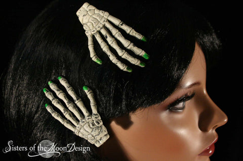 Skeleton hands hair clips with painted green nails pair halloween costume barrette