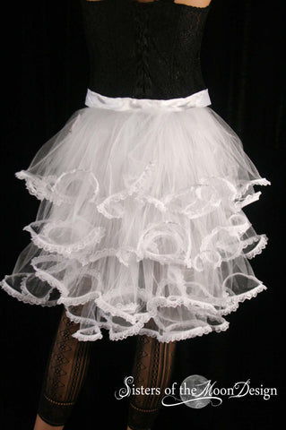 Bridal White Wedding Bridal Bustle ribbon tie on beautiful trimmed with lace