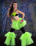 Raver tutu boot covers fluffy UV reactive dance club rave party leg warmers neon retro -- Sisters of the Moon