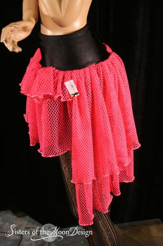 Neon Raver Fishtail skirt short long design club wear dance gothic UV fishnet Hot pink cyber goth - You choose Size - Sisters of the Moon