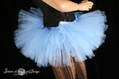 french Blue Peek a boo Adult tutu Mini micro style skirt dance costume roller derby gogo bachelorette
