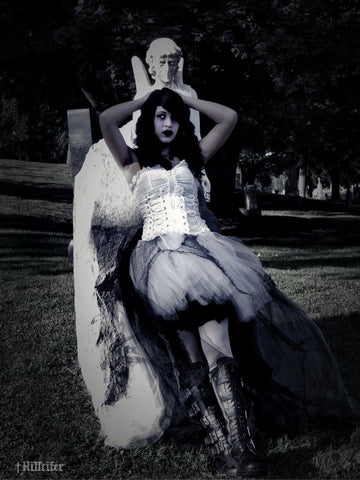 creepy graveyard ghost zombie adult tutu skirt costume Halloween trail wedding Apocalypse ripped torn