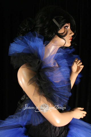 Black and royal blue boa shoulder tulle wrap for wedding dance bridal prom burlesque