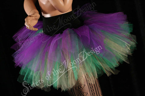 Mardi gras Streamer tutu tulle skirt three tier purple green yellow adult carnival costume halloween run