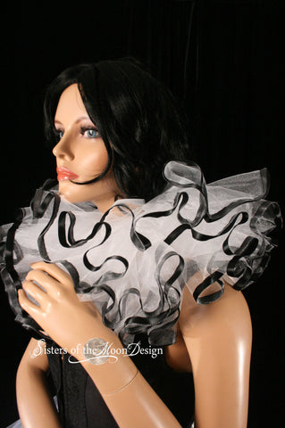 Three layer tulle collar neck cuff clown white black ribbon trim harlequin gothic halloween costume tie on extra puffy