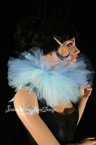 Three layer tulle collar neck cuff clown rabbit ice queen halloween costume tie on blue aqua  -- SistersEnchanted