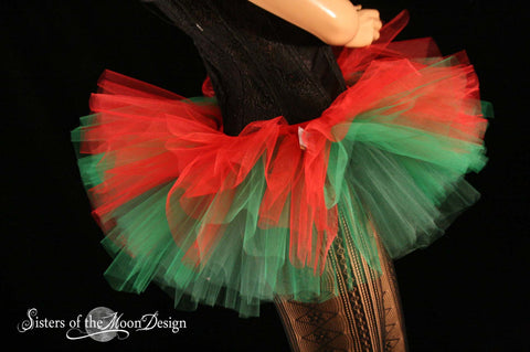 elf red and green Adult tutu skirt Peek a boo mini costume christmas holiday dance bridal
