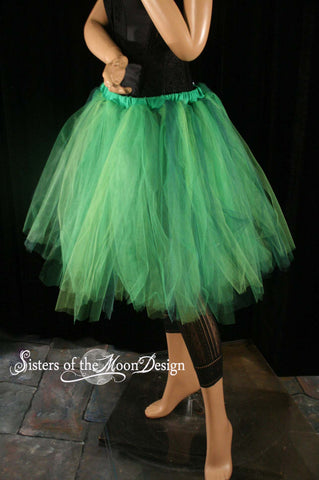 absinthe fairy adult tutu skirt streamer knee length mix of green tulle