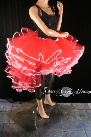 Holiday Queen tutu tulle skirt red white fuzz trimmed adult costume dance christmas santa