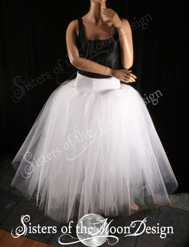 White Glimmer Adult tutu skirt long puffy petticoat two layer dance formal wedding bridal prom