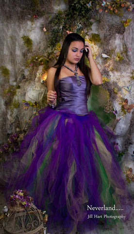 Mardi Gras Streamer floor length tutu skirt formal adult wedding bridal party purple fairy carnival