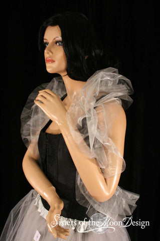 silver organza boa shoulder wrapp