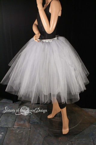 Silver glimmer Adult tutu Iridescent Tea length romance Petticoat skirt extra poofy bridal With Underskirt