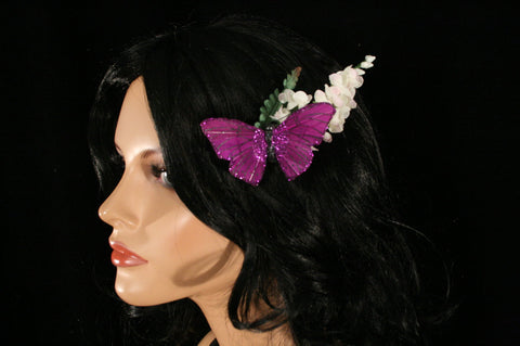 Purple butterfly lilly of the valley flower hair clip bridal wedding accessory by Sisters of the Moon