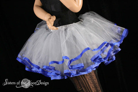 Silver tutu petticoat skirt adult royal trim Halloween costume carnival superhero princess durby
