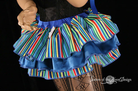 Clown ruffle mini skirt carnival blue stripes layered dance costume halloween