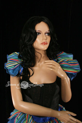 tie on shoulder shrug shoulder wrap clown stripes blue formal dance carnival ruffles neck collar -- Sisters of the Moon