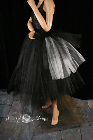 Adult tutu skirt Floor length Black with bustle back white jack Halloween prom bridal Gothic wedding