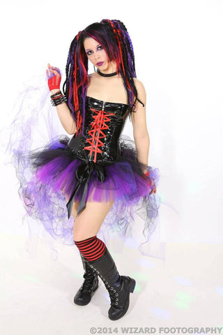 Peek a boo mini black and purple tutu skirt Adult dance run gogo rave roller derby club costume -- You Choose Size -- Sisters of the Moon