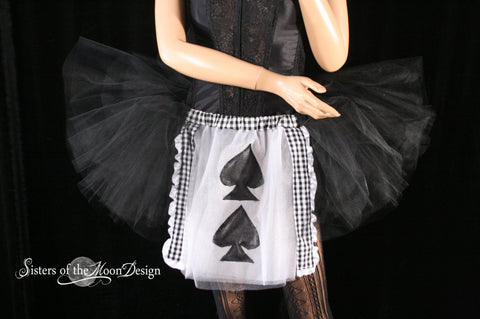 Queen rspades adult tutu skirt race run white and black card halloween costume -- You Choose Size - Sisters of the Moon