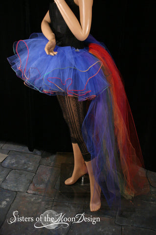 Parrot bustle tutu skirt hi low Adult halloween costume dance royal rainbow piped  - You Choose Size - Sisters Of the Moon