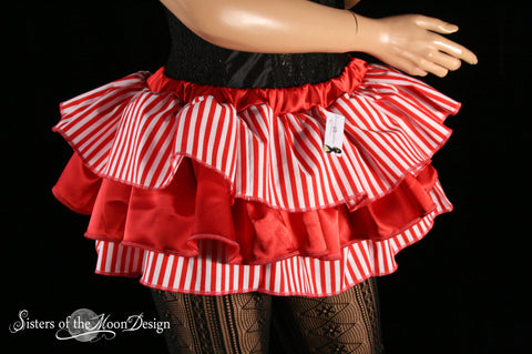 Clown pirate ruffle mini skirt carnival red white stripes layered dance costume halloween