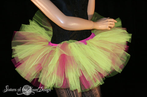 Neon Yellow and hot pink Adult tutu skirt Mini micro Peek a boo style dance roller derby costume runner