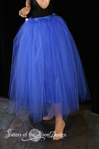 Floor length Adult tutu skirt royal blue extra puffy petticoat two layer dance formal wedding bridal