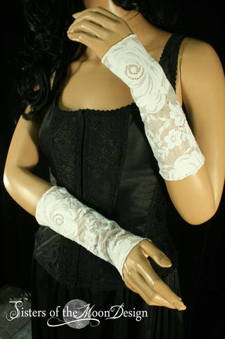 Arm warmers fingerless gloves short white floral lace prom wedding bridal victorian steampunk