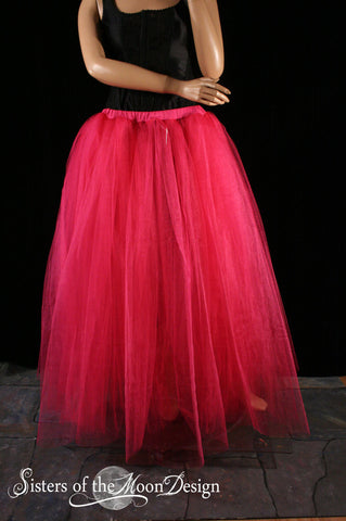 Shocking Pink Adult tutu skirt long extra puffy petticoat two layer dance formal wedding bridal prom