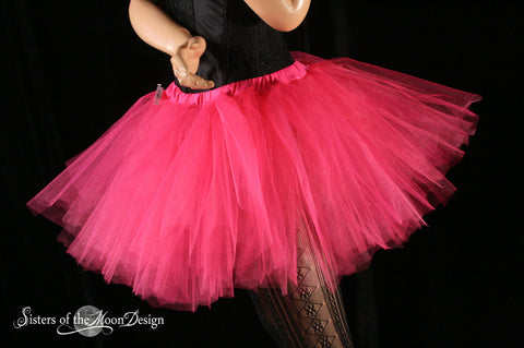 Shocking Pink Streamer tutu skirt adult run race costume halloween carnival fairy gogo dance --You Choose Size -- Sisters of the Moon
