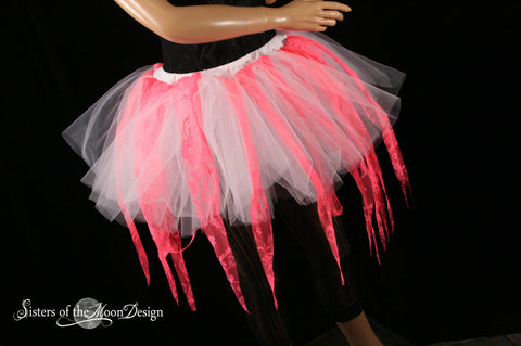 Coral Fairy ragged tutu adult skirt custome dance halloween cosplay white UV rave lace run race gogo