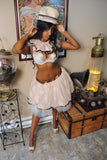 Steampunk adult tutu skirt victorian lace cream ivory brown formal prom dance bridal -- You Choose Size -- Sisters of the Moon