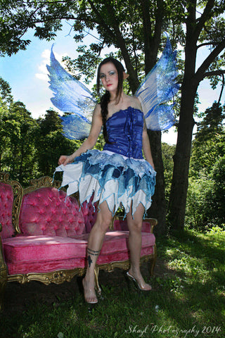 Frozen Fairy Pixie Adult skirt short nymph ren faire blue ice costume fae faerie festival winter