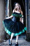 Black lace and green tulle adult tutu skirt gothic victorain dance style