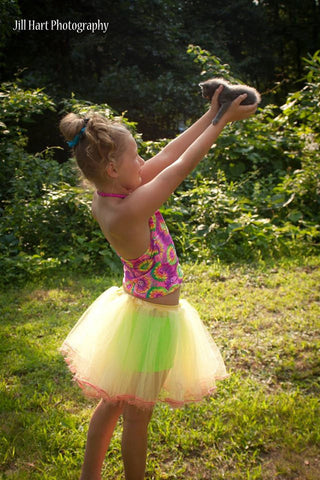 Sunny Lemonaid dance tutu petticoat skirt Yellow and pink trimmed Child-Teen  -- Grow with Me
