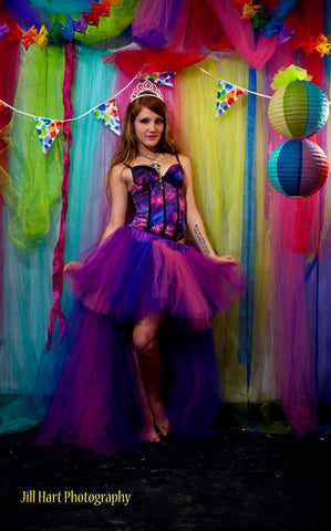 Cheshire Cat inspired hi low tutu skirt Wedding Formal poofy trail bridal bustle dance prom costume