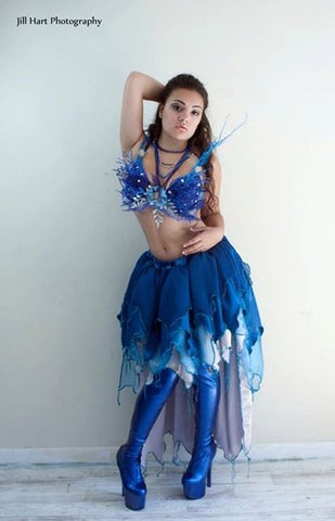 Frozen Fairy Pixie Adult skirt hi low nymph ren faire blue ice costume fae faerie festival Dance