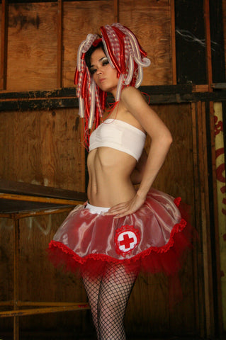 Nurse laura tutu skirt adult costume red white gogo dance cosplay halloween race run -- Your Chose Size - Sisters of the Moon