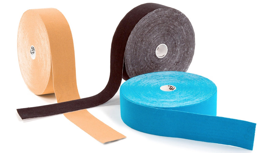 Three rolls of elastic therapeutic tape against a white background