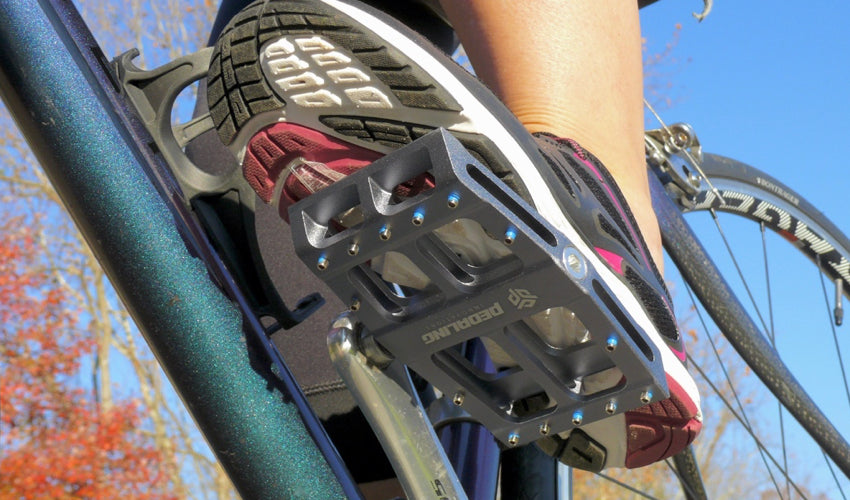 A view of the underside of Gray Catalyst Pedals by Pedaling Innovations