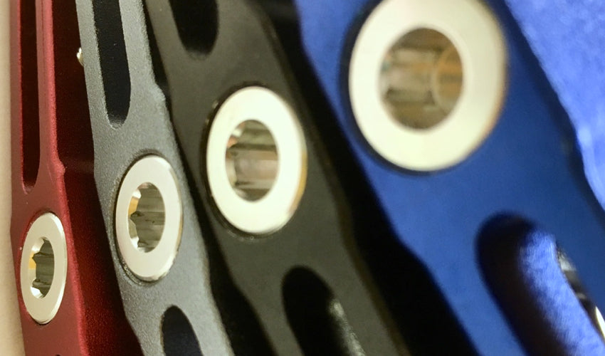 Close-up view showing the side of all four Catalyst Pedal colors