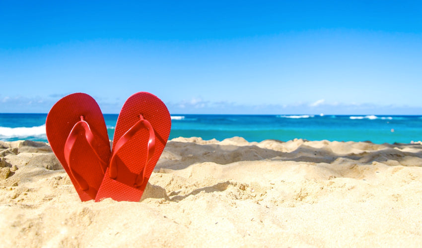 A pair of red flip-flops standing in the sand with the ocean in the background