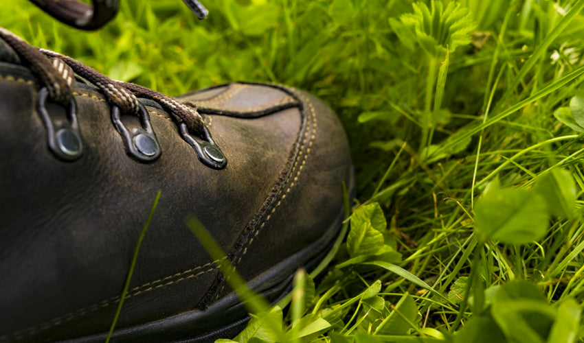 Close-up view of a pair of heavy and clunky conventional hiking boots