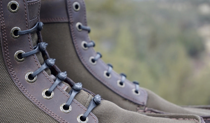 Black Hickies No-Tie Laces used in conjunction with the Lems Boulder Boot in Timber