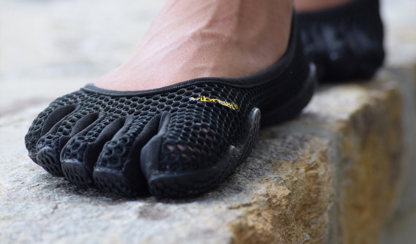 Close up view of the perforated upper of a Vibram FiveFingers VI-B toe shoe