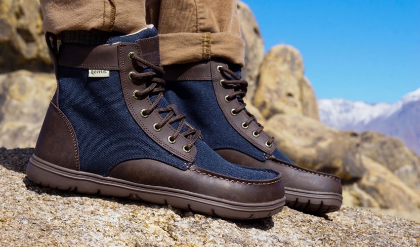 Lems Boulder Boot in Navy Stout